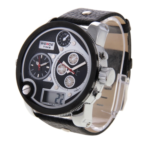 Buy WEIDE WH2305 Digital LCD Dual Time Date Display Oversized Wristwatch 30m Waterproof Leather Strap Quartz Sport Watch for Men, White for $26.48 in SUNSKY store
