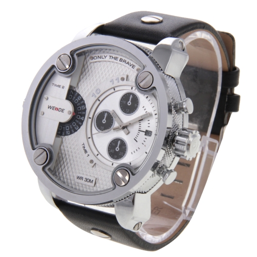 Buy WEIDE WH3301 Calendar Display 3 Decoration Dials Oversized Wristwatch 30m Waterproof Leather Strap Quartz Sport Watch for Men, Silver for $29.73 in SUNSKY store