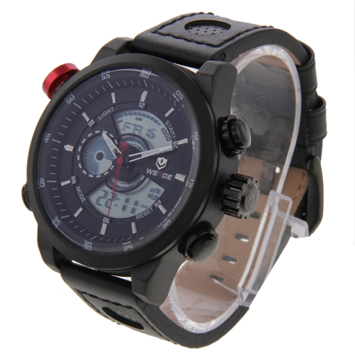 Buy WEIDE WH3401 Digital LCD Dual Time Date Display Alarm Wristwatch 30m Waterproof Leather Strap Quartz Sport Watch for Men, Black for $27.56 in SUNSKY store