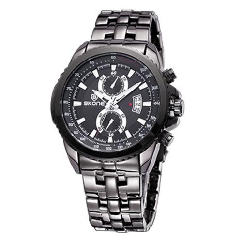 Buy SKONE Luminous Hands Calendar Display Two Small Decoration Dial Men Quartz Watch with Alloy Band, Black for $11.96 in SUNSKY store
