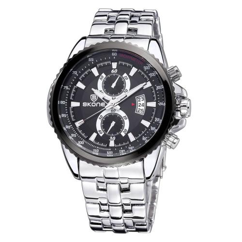 Buy SKONE Luminous Hands Calendar Display Two Small Decoration Dial Men Quartz Watch with Alloy Band, Silver for $11.96 in SUNSKY store
