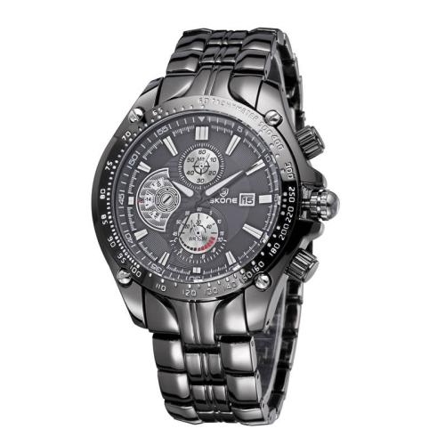 Buy SKONE Luminous Hands Calendar Display 3 Small Decoration Dial Men Quartz Watch with Alloy Band, Black for $12.55 in SUNSKY store