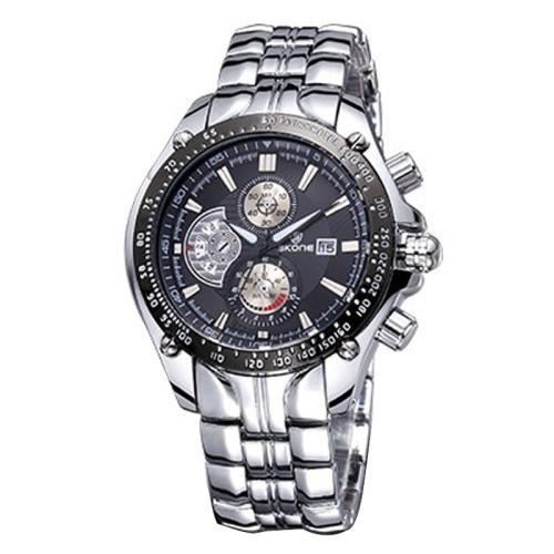 Buy SKONE Luminous Hands Calendar Display 3 Small Decoration Dial Men Quartz Watch with Alloy Band, Silver for $11.96 in SUNSKY store