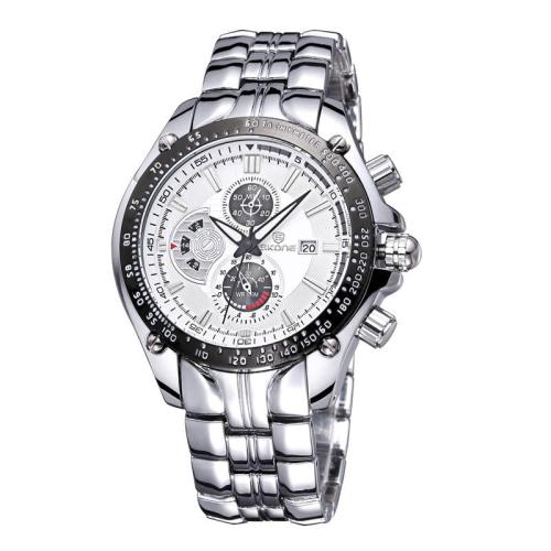 Buy SKONE Luminous Hands Calendar Display 3 Small Decoration Dial Men Quartz Watch with Alloy Band, White for $11.96 in SUNSKY store
