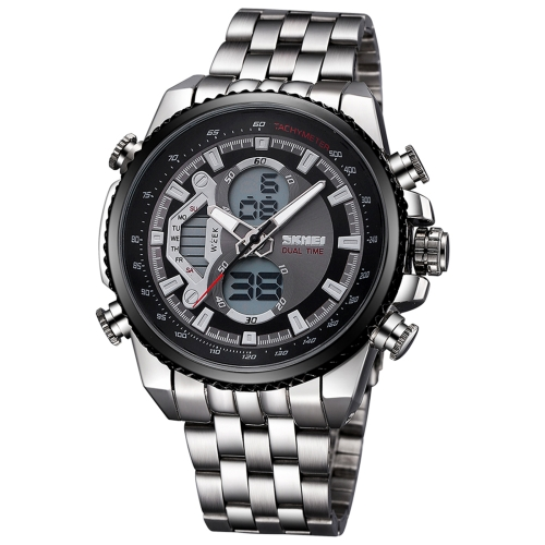 Buy SKMEI 3698 Multifunctional 3ATM Waterproof Sport Watch Double Movement Quartz & Digital Dual-Time Display Wrist Watch with Alloy Band and Luminous Display & Stopwatch & Alarm & Week Display Functions for Men (Silvery Band + Black Dial) for $14.98 in SUNSKY store