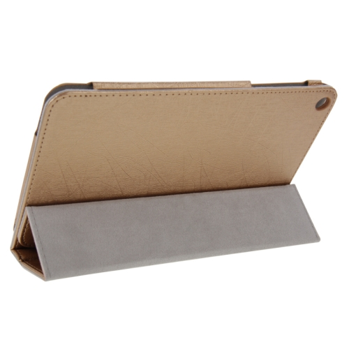 Buy Steel Wire Texture Magnetic Horizontal Flip Leather Case with Three-Folding Holder for Huawei MediaPad S8-701u / T1-821W / T1-823W, Gold for $4.09 in SUNSKY store
