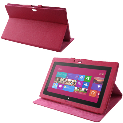 Buy Litchi Texture Leather Case with Sleep / Wake-up & Third Gear Holder Function for Windows RT Surface 10.6 inch, Magenta for $5.76 in SUNSKY store