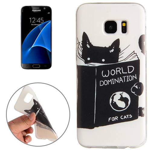 Buy For Samsung Galaxy S7 / G930 Black Cat Words Pattern TPU Protective Case for $1.02 in SUNSKY store