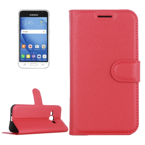 Buy For Samsung Galaxy J1 Pro & J1, 2016 / J120 Litchi Texture Horizontal Flip Leather Case with Magnetic Buckle & Holder & Card Slots & Wallet, Red for $2.30 in SUNSKY store