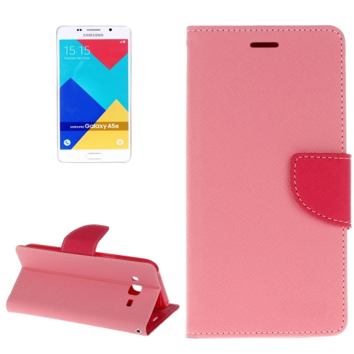 Buy For Samsung Galaxy A5, 2016 / A510 Cross Texture Horizontal Flip Leather Case with Magnetic Buckle & Holder & Card Slots & Wallet, Pink for $2.16 in SUNSKY store