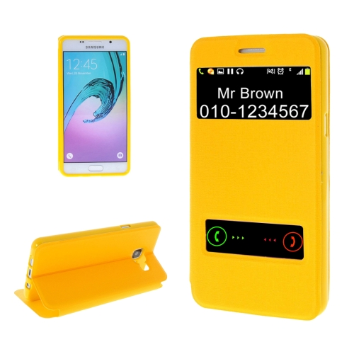 Buy For Samsung Galaxy A5, 2016 / A510 Oracle Texture Horizontal Flip TPU + PU Leather Case with Caller ID Window & Holder, Yellow for $2.74 in SUNSKY store