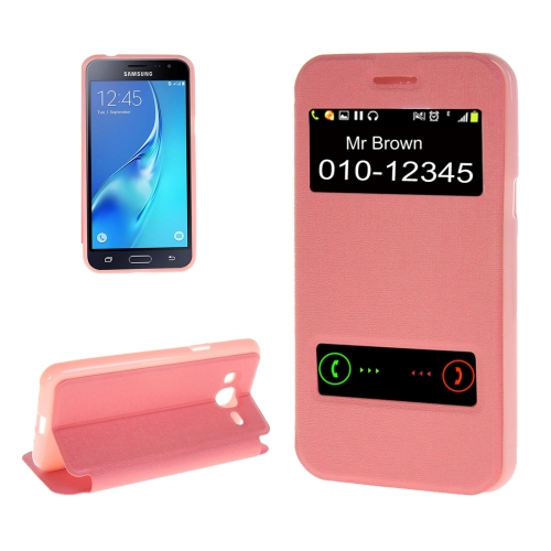 Buy For Samsung Galaxy J2, 2016 / J210 Oracle Texture Horizontal Flip TPU + PU Leather Case with Caller ID Window & Holder, Pink for $2.73 in SUNSKY store
