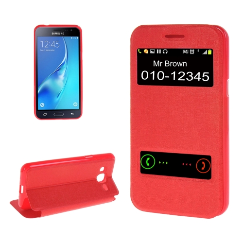 Buy For Samsung Galaxy J2, 2016 / J210 Oracle Texture Horizontal Flip TPU + PU Leather Case with Caller ID Window & Holder, Red for $2.73 in SUNSKY store