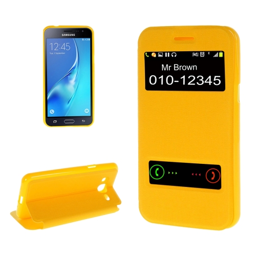Buy For Samsung Galaxy J2, 2016 / J210 Oracle Texture Horizontal Flip TPU + PU Leather Case with Caller ID Window & Holder, Yellow for $2.74 in SUNSKY store