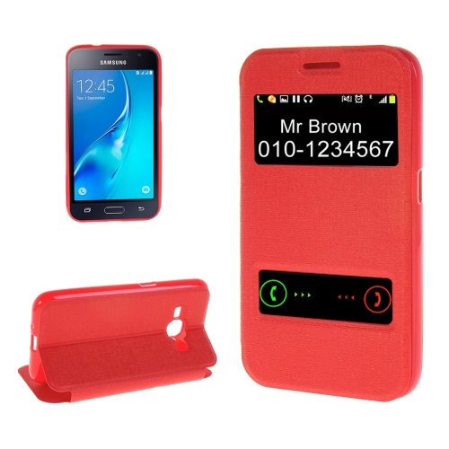 Buy For Samsung Galaxy J1, 2016 / J120 Oracle Texture Horizontal Flip TPU + PU Leather Case with Caller ID Window & Holder, Red for $2.73 in SUNSKY store