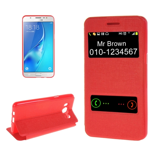 Buy For Samsung Galaxy J5, 2016 / J510 Oracle Texture Horizontal Flip TPU + PU Leather Case with Caller ID Window & Holder, Red for $2.73 in SUNSKY store