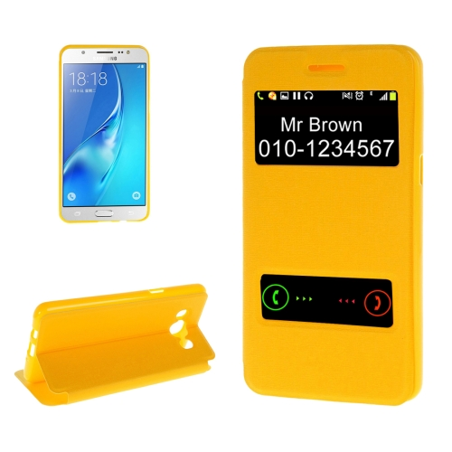 Buy For Samsung Galaxy J7, 2016 / J710 Oracle Texture Horizontal Flip TPU + PU Leather Case with Caller ID Window & Holder, Yellow for $2.74 in SUNSKY store