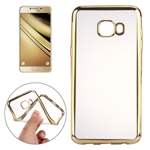 Buy For Samsung Galaxy A7, 2016 / A710 Electroplating Transparent Soft TPU Protective Cover Case, Gold for $1.21 in SUNSKY store