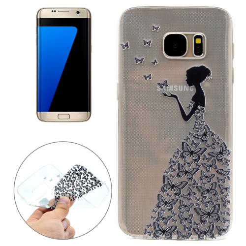 Buy For Samsung Galaxy S7 / G930 Butterfly and Girl Pattern Transparent Soft TPU Protective Back Cover Case for $1.11 in SUNSKY store