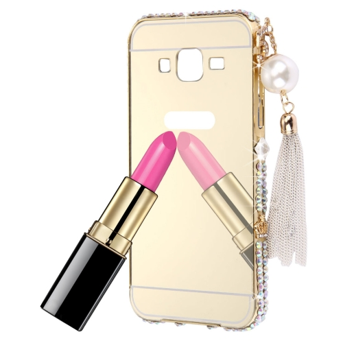 For Galaxy Grand Prime / G530 Pearl Chain Pendant Diamond Encrusted Electroplating Mirror PC Protective Cover Case(Gold)