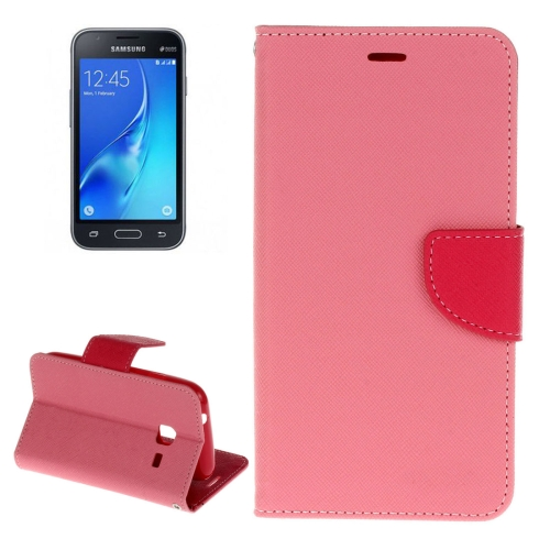 Buy For Samsung Galaxy J1 Mini Cross Texture Horizontal Flip Leather Case with Holder & Card Slots & Wallet, Pink for $2.16 in SUNSKY store