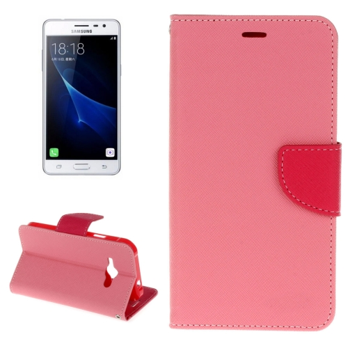 Buy For Samsung Galaxy J3 Pro Cross Texture Horizontal Flip Leather Case with Holder & Card Slots & Wallet, Pink for $2.16 in SUNSKY store