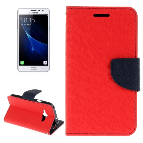 Buy For Samsung Galaxy J3 Pro Cross Texture Horizontal Flip Leather Case with Holder & Card Slots & Wallet, Red for $2.15 in SUNSKY store