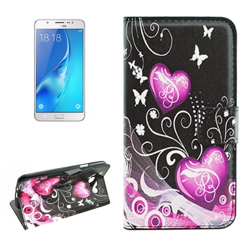 Buy For Samsung Galaxy J5, 2016 / J510 Crystal Butterflies and Hearts Pattern Horizontal Flip Leather Case with Holder & Card Slots & Wallet for $2.18 in SUNSKY store