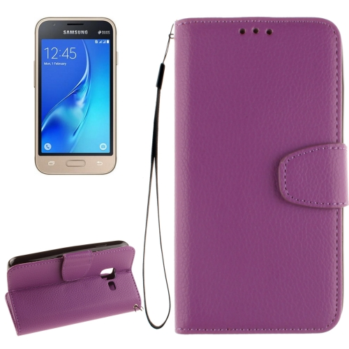 Buy For Samsung Galaxy J1 Nxt / mini Litchi Texture Horizontal Flip PU Leather Case with Holder & Card Slots & Wallet & Photo Frame & Lanyard, Purple for $2.42 in SUNSKY store
