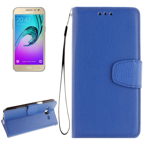 Buy For Samsung Galaxy J2 Litchi Texture Horizontal Flip PU Leather Case with Holder & Card Slots & Wallet & Photo Frame & Lanyard, Blue for $2.34 in SUNSKY store