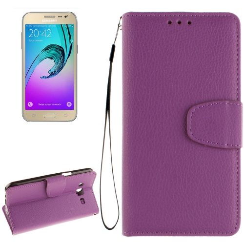 Buy For Samsung Galaxy J2 Litchi Texture Horizontal Flip PU Leather Case with Holder & Card Slots & Wallet & Photo Frame & Lanyard, Purple for $2.42 in SUNSKY store