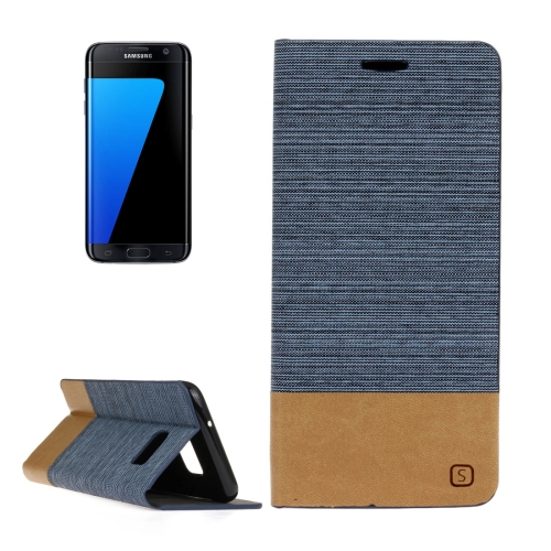 Buy For Samsung Galaxy S7 Edge / G935 Canvas Pattern PU + TPU Horizontal Flip Leather Case with Holder & Card Slots, Blue for $2.44 in SUNSKY store