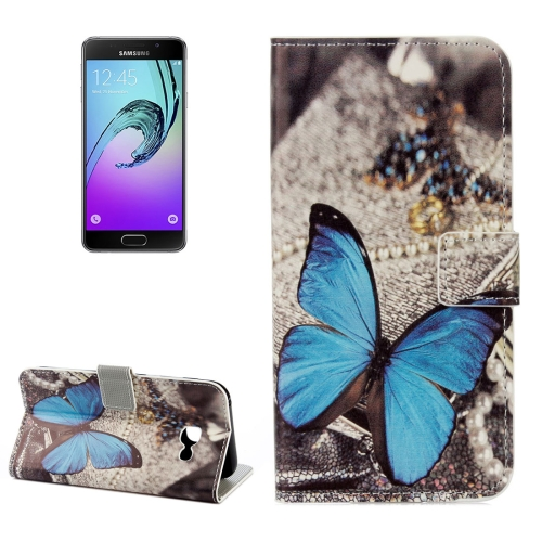 Buy For Samsung Galaxy A5, 2017 / A520 Blue Butterfly Pattern Litchi Texture Horizontal Flip Leather Case with Holder & Card Slots & Wallet for $2.33 in SUNSKY store