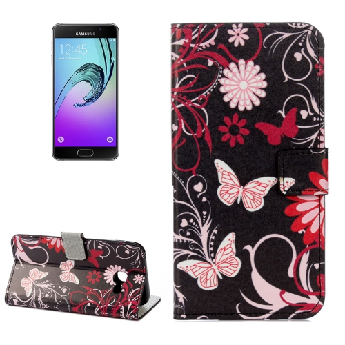 For Samsung Galaxy A5, 2017 / A520 Black Butterfly Pattern Litchi Texture Horizontal Flip Leather Case with Holder & Card Slots & Wallet