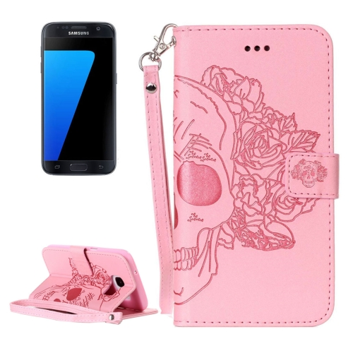 Buy For Samsung Galaxy S7 / G930 Crazy Horse Texture Skull Printing Horizontal Flip Leather Case with Holder & Card Slots & Wallet & Lanyard, Pink for $2.76 in SUNSKY store