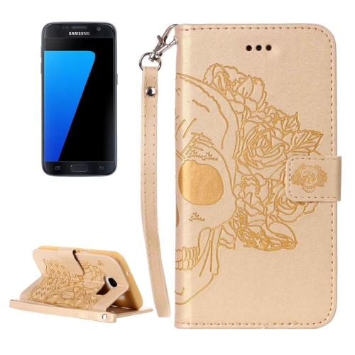 Buy For Samsung Galaxy S7 / G930 Crazy Horse Texture Skull Printing Horizontal Flip Leather Case with Holder & Card Slots & Wallet & Lanyard, Gold for $2.76 in SUNSKY store