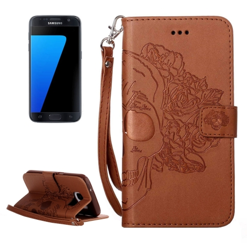 Buy For Samsung Galaxy S7 / G930 Crazy Horse Texture Skull Printing Horizontal Flip Leather Case with Holder & Card Slots & Wallet & Lanyard, Brown for $2.76 in SUNSKY store