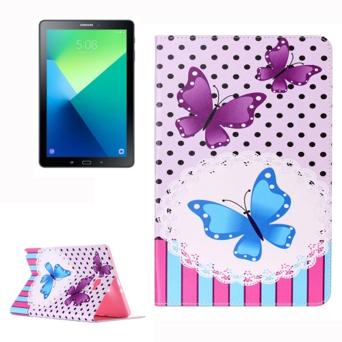 Buy For Samsung Galaxy Tab A 10.1, 2016 / P580 Purple Butterflies and Blue Butterflies Pattern Horizontal Flip Leather Case with Holder & Card Slots & Wallet for $5.21 in SUNSKY store