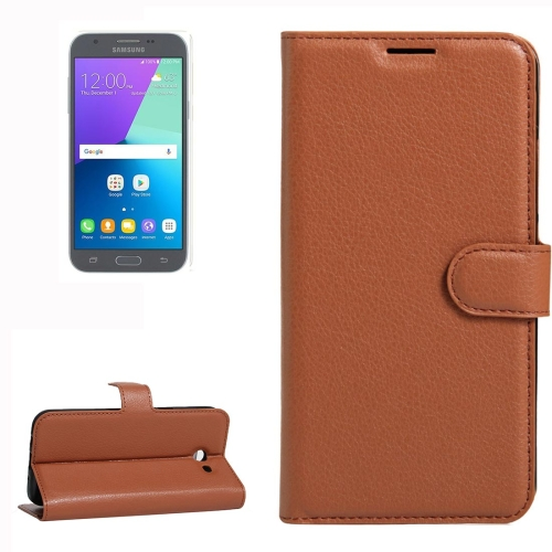 Buy For Samsung Galaxy J3, 2017 & J3 Prime (US Version) Litchi Texture Horizontal Flip Leather Case with Holder & Card Slots & Wallet, Brown for $2.28 in SUNSKY store