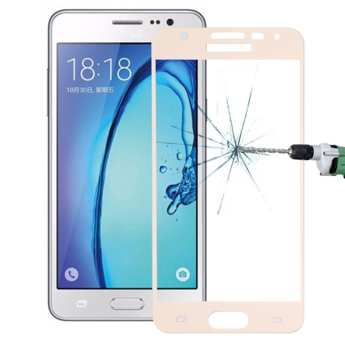 Buy For Samsung Galaxy On5 0.26mm 9H Surface Hardness Explosion-proof Silk-screen Tempered Glass Full Screen Film, Gold for $1.34 in SUNSKY store
