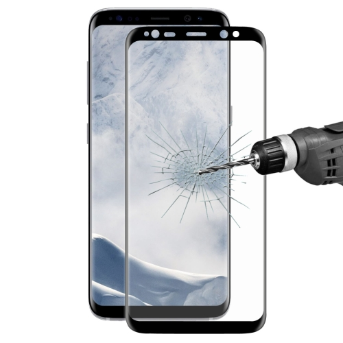 ENKAY Hat-Prince for Galaxy S8 / G9500 0.26mm 9H Surface Hardness 3D Explosion-proof Full Screen Curved Heat Bending Tempered Glass Color Screen Film(Black)