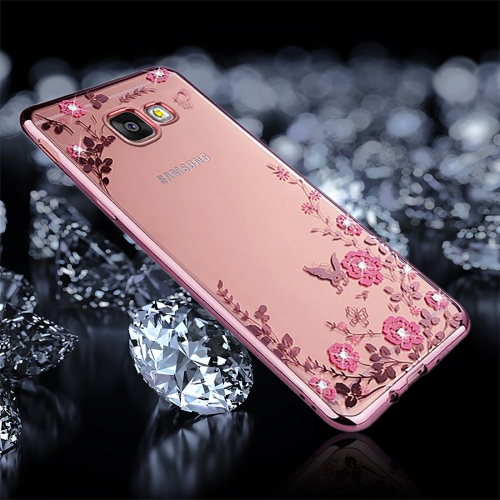 Buy For Samsung Galaxy A3, 2017 / A320 Flowers Pattern Diamond Encrusted Electroplating Soft TPU Protective Cover Case (Rose Gold) for $1.25 in SUNSKY store