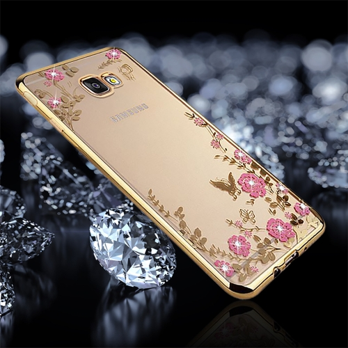 Buy For Samsung Galaxy J7 Prime Flowers Pattern Diamond Encrusted Electroplating Soft TPU Protective Cover Case, Gold for $1.25 in SUNSKY store
