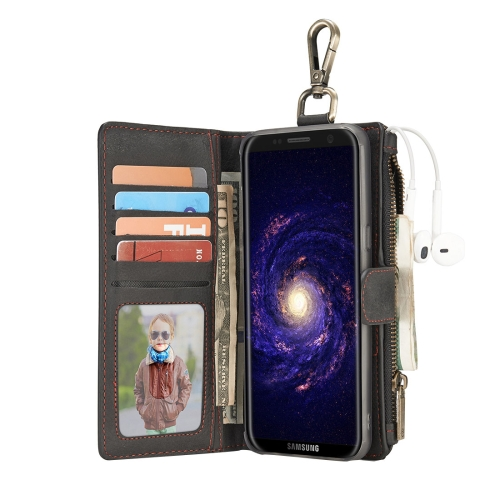 Buy For Samsung Galaxy S8 + / G955 Crazy Horse Texture Flip Detachable Back Cover Leather Case with Hook & Card Slots & Wallet & Photo Frame, Black for $7.30 in SUNSKY store