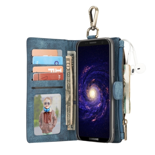 Buy For Samsung Galaxy S8 + / G955 Crazy Horse Texture Flip Detachable Back Cover Leather Case with Hook & Card Slots & Wallet & Photo Frame, Blue for $7.30 in SUNSKY store