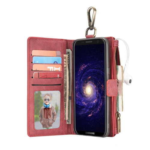 Buy For Samsung Galaxy S8 + / G955 Crazy Horse Texture Flip Detachable Back Cover Leather Case with Hook & Card Slots & Wallet & Photo Frame, Red for $7.32 in SUNSKY store