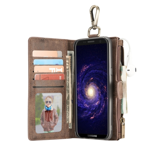 Buy For Samsung Galaxy S8 + / G955 Crazy Horse Texture Flip Detachable Back Cover Leather Case with Hook & Card Slots & Wallet & Photo Frame, Brown for $7.30 in SUNSKY store