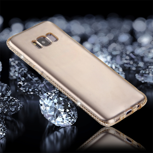 Buy For Samsung Galaxy S8 Diamond Encrusted Transparent Soft TPU Protective Back Cover Case, Gold for $1.65 in SUNSKY store
