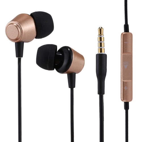 U-18 1.2m Bass Stereo Sound In-ear Wire Control Earphone, For iPhone, iPad, Galaxy, Huawei, Xiaomi, LG, HTC and Other Smartphones (Gold)