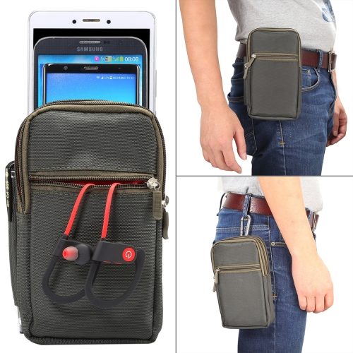 7 inch and Below Universal Polyester Men Vertical Style Case Waist Bag with Belt Hole & Climbing Buckle, For iPhone, Samsung, Sony, Huawei, Meizu, Lenovo, ASUS, Oneplus, Xiaomi, Cubot, Ulefone, Letv, DOOGEE, Vkworld, and other (Army Green)